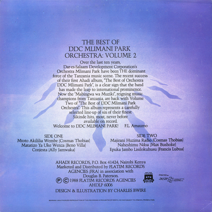 AHDLP 6002 The Best of Orchestra  DDC Mlimani Park back cover